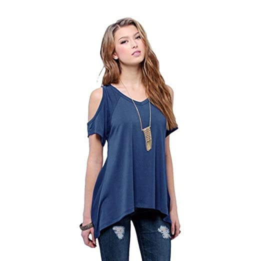 ac31f902923fb6 Sinohomie Women s Fashion Tee Casual Shirts Blouse Bare Shoulder Loose v  Collar Short Sleeve (S