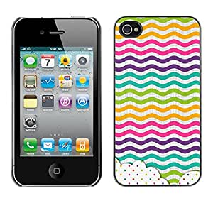 For Apple iPhone 4 / iPhone 4S / 4S Case , Dot Waves Lines Rainbow Color - Diseño Patrón Teléfono Caso Cubierta Case Bumper Duro Protección Case Cover Funda