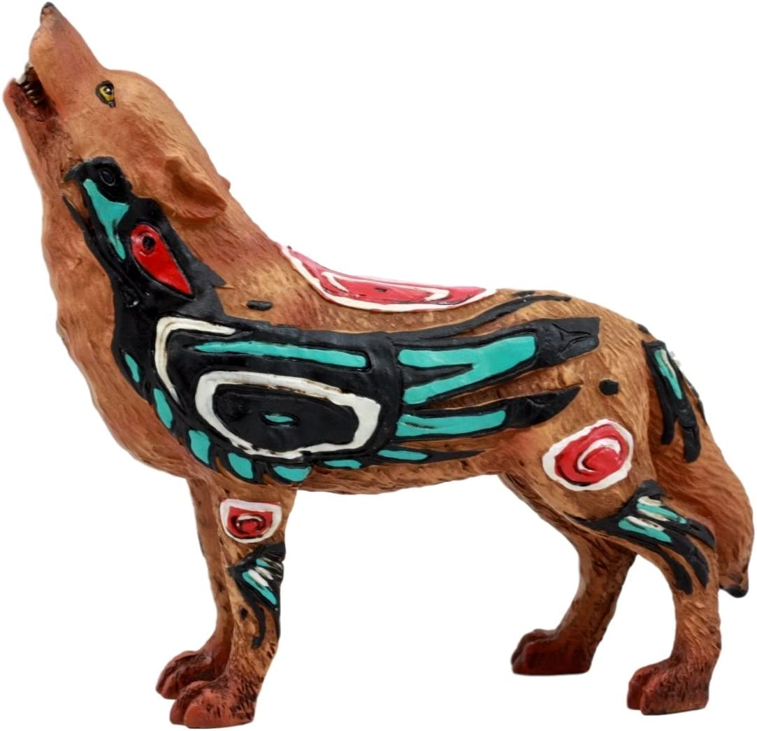 Ebros Gift Native Tribal Howling Wolf Totem Spirit Figurine Collection 6.25