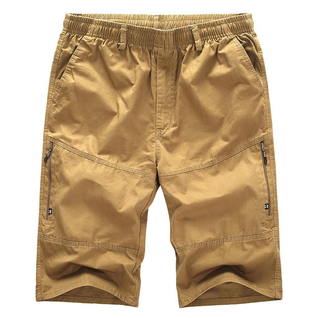 ZEFOTIM Casual Shorts for Men's Casual Pure Color Outdoors Pocket Beach Work Trouser Cargo Shorts Pant(Khaki,XXXXXX-Large)
