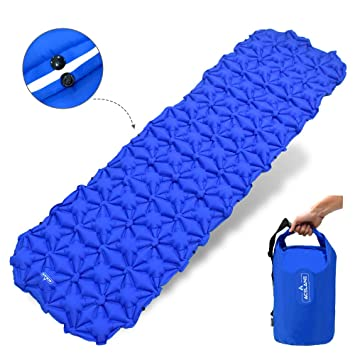 Acelane Almohadilla para dormir Conectable Almohadilla para acampar de aire inflable Bolsa de transporte Bolso seco multifuncional Almohada Colchón de aire ...