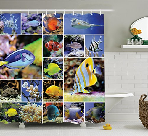 Ocean Decor Shower Curtain Set By Ambesonne, Collage Of Underwater Photos With Collection Of Tropical Fishes Decorating Art Print, Bathroom Accessories, 75 Inches Long, Blue Yellow