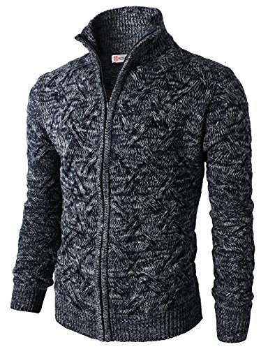 (H2H Mens Casual Knitted Cardigan Zip-up with Twisted Pattern - US M (Asia L) -)