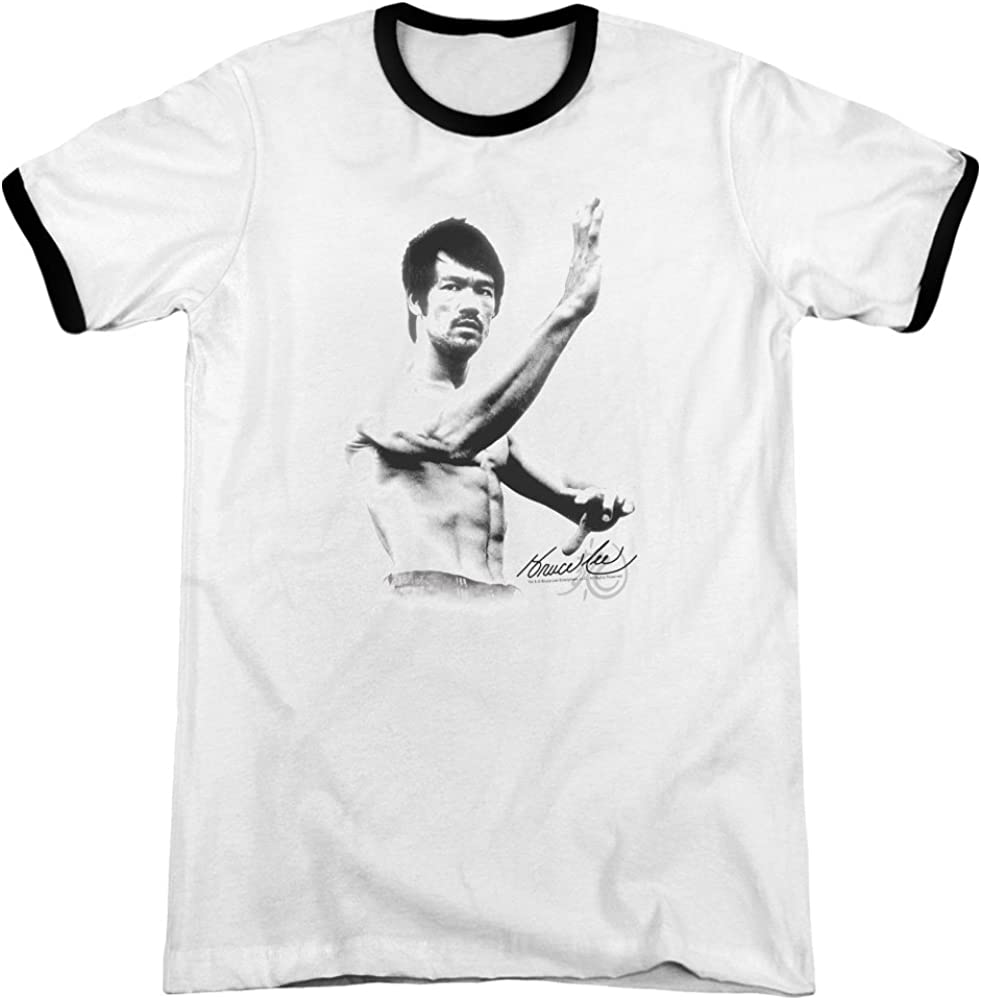 Amazon Com Bruce Lee Martial Arts Karate Kung Fu Icon B W Stance Adult Ringer T Shirt Tee Clothing