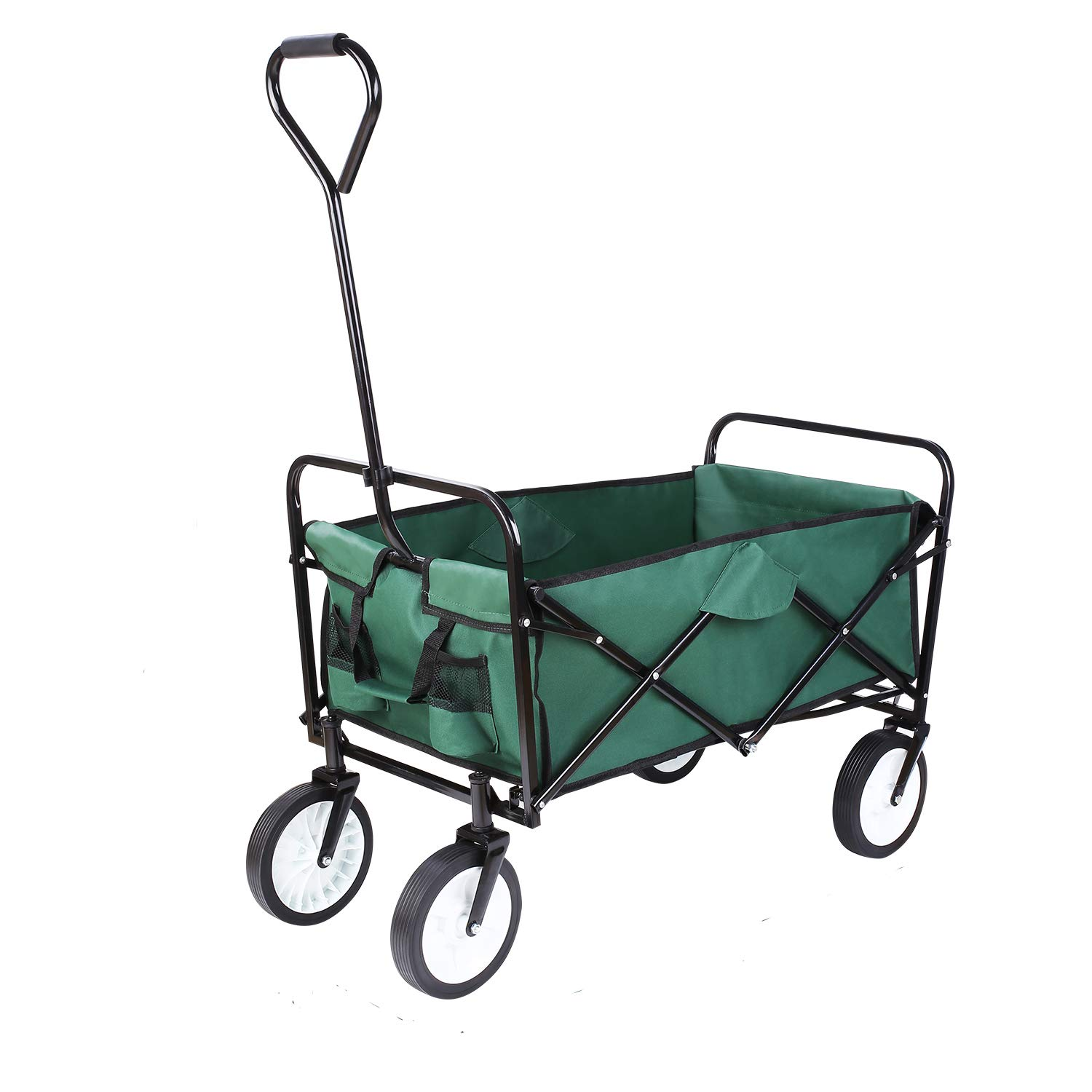 FIXKIT Collapsible Outdoor Utility Wagon, Folding Sturdy Garden Shopping Cart for Beach with All-Terrain Wheels, Blue Nifty Grower