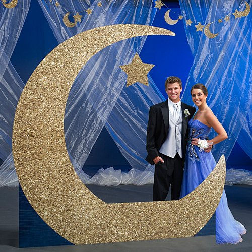 8 ft. To the Moon & Back Crescent Moon Standup Photo Booth Prop Background Backdrop Party Decoration Decor Scene Setter Cardboard Cutout ()
