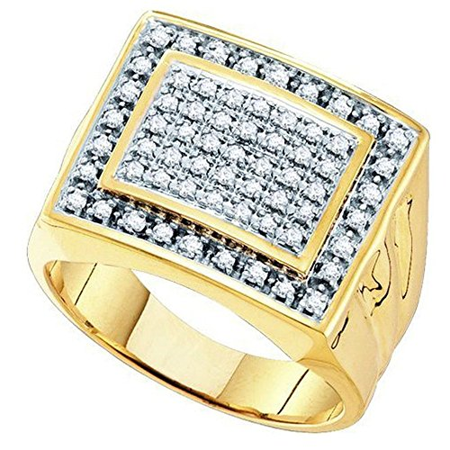 Dazzlingrock Collection 0.48 Carat (ctw) 10K Round Diamond Mens Cluster Ring Wedding Band 1/2 CT, Yellow Gold, Size 10.5
