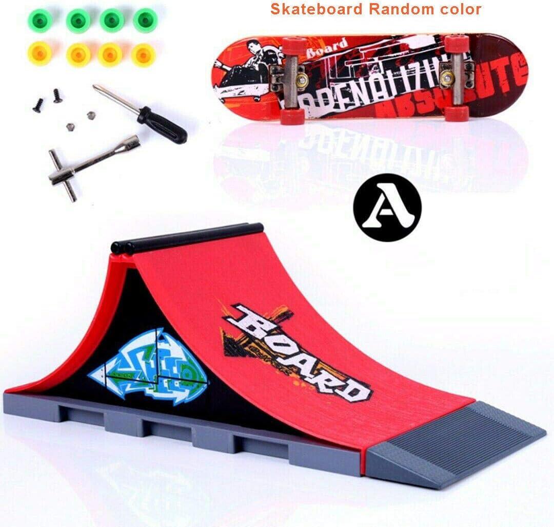 Sipobuy Kit De Embarque del Patin Tablero del Dedo del Monopatin De Mini con Conjuntos de Accesorios de rampa (Escena A)