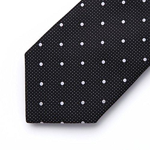 amp; Dot White Jacquard Black Tie Necktie Men's Square BIYINI Set Men's Polka Handkerchief Classic Woven Pocket qEX4vw