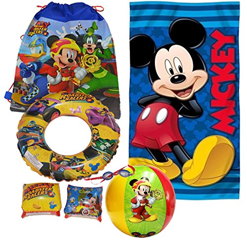 Disney Mickey Mouse Draw String Bag, Googles, Swimming Ring, Floaties Swimming Pool Bundle