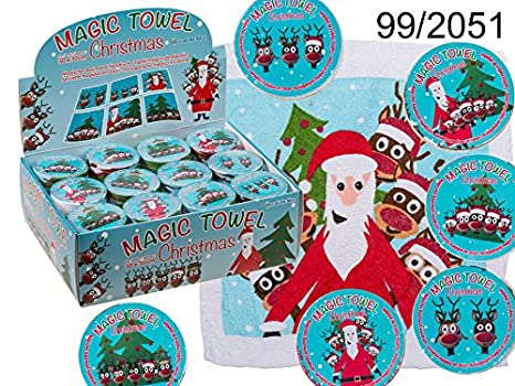 Mágico algodón Toalla Navidad Papá Noel Renos Aprox. 30 x 30 cm: Amazon.es: Hogar