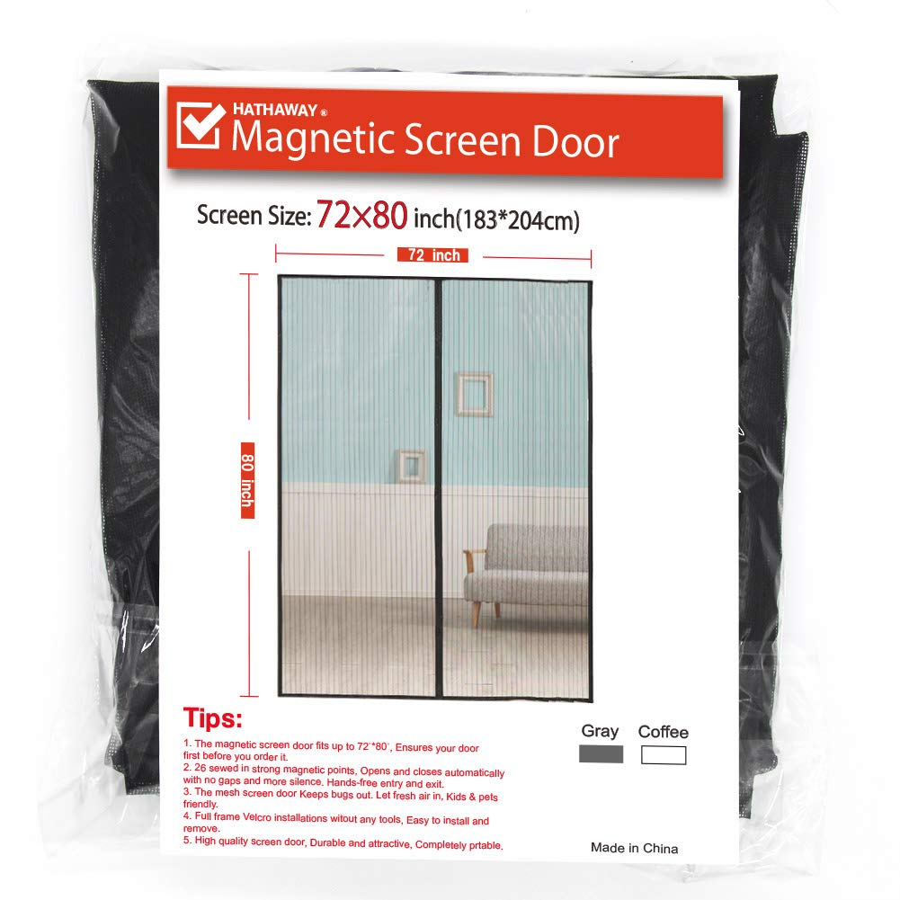 Upgraded Door Screenmagnetic Screen Door 72x80 Inch Fiber Screen