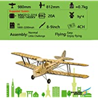 Festnight Dancing Wings Hobby S1901 Balsa Wood RC Airplane Tiger Moth Remote Control Biplane Unassembled KIT Version DIY…