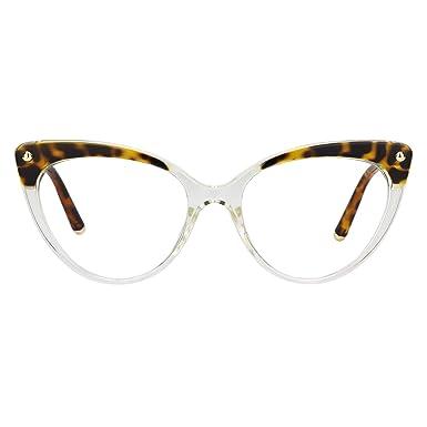 e9c07e6832 Zeelool Women s Vintage Cat Eye Glasses Champagne Metal Arm Alivia  FX0757-01 Crystal Leopard