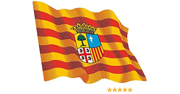 Artimagen Pegatina Bandera Ondeante Aragón 80x60 mm.: Amazon.es: Coche y moto