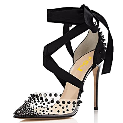c4ab951026 FSJ Women High Heel Ankle Strap Sandals Pointed Toe Rivets Pumps PVC Club  Shoes with Studs