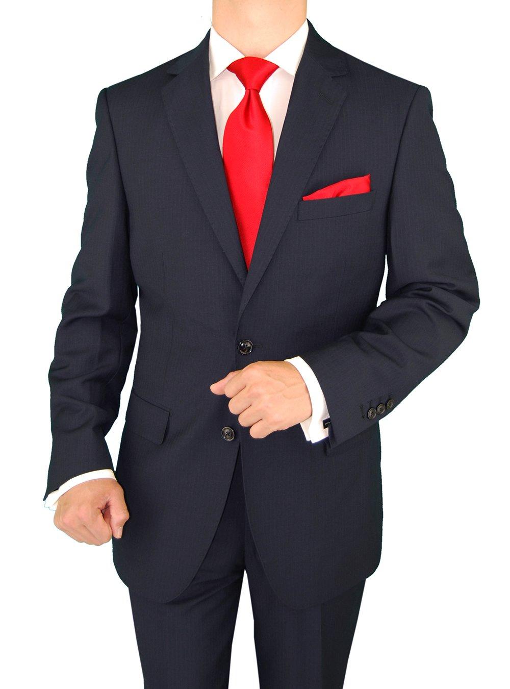 Gino Valentino Men's Two Button Modern Striped Night Navy Suit (38 Regular US / 48 Regular EU)