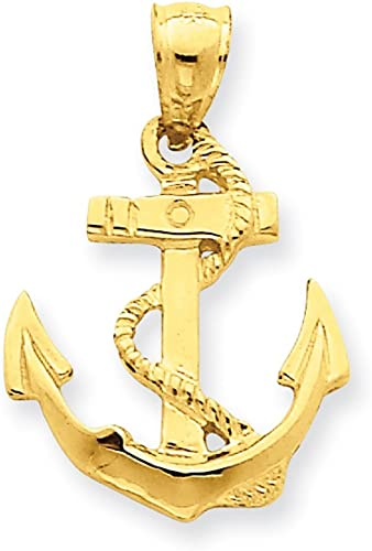 14k Polished Anchor Pendant