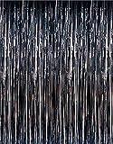 GIFTEXPRESSⓇ Metallic Black Foil Fringe Curtain set of 2/Photo Backdrop/hanging Tinsel/Hanging curtain/foil fringe window cutain/doorway curtain/entrance curtain