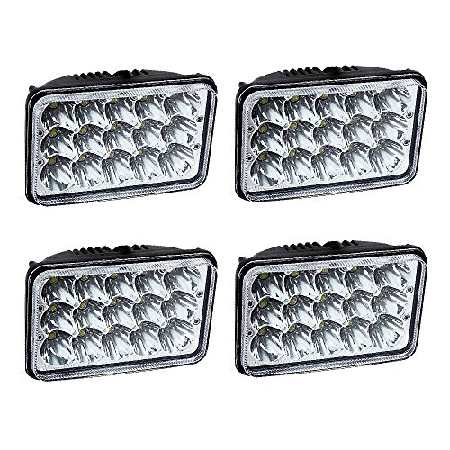 TURBOSII DOT Approved 4X6 LED Headlight Assemblies Hi/Lo Sealed Beam Replace H4651 H4656 Hid Bulb Headlamps KW Kenworth T600 W900 T800 Truck Peterbilt 379 Chevy S10 Blazer RV Freightliner Semi 4PCS