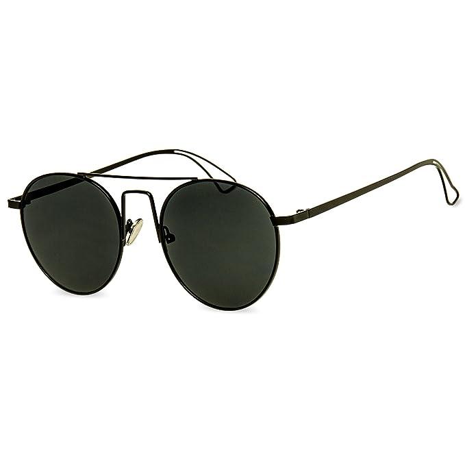 CASPAR SG041 Retro Hippie Sonnenbrille Pilotenbrille incl. hochwertigem Etui, Farbe:silber / silber verspiegelt;Größe:One Size