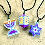 Set of 10 Star of David, Dreidel & Menorah Chanukah Holiday Lights - Green Wire