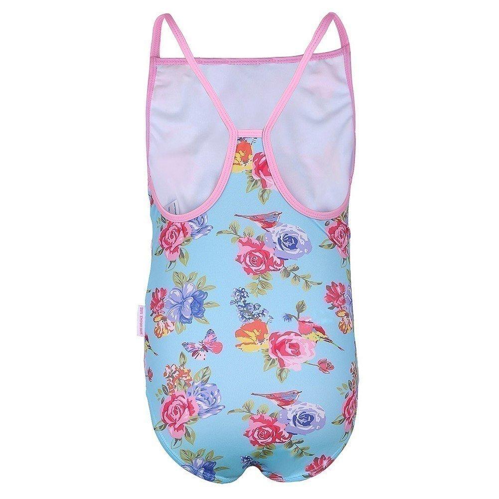 Sun Emporium Little Girls Blue Pink Blossom Print Racer Back Swimsuit 2-6