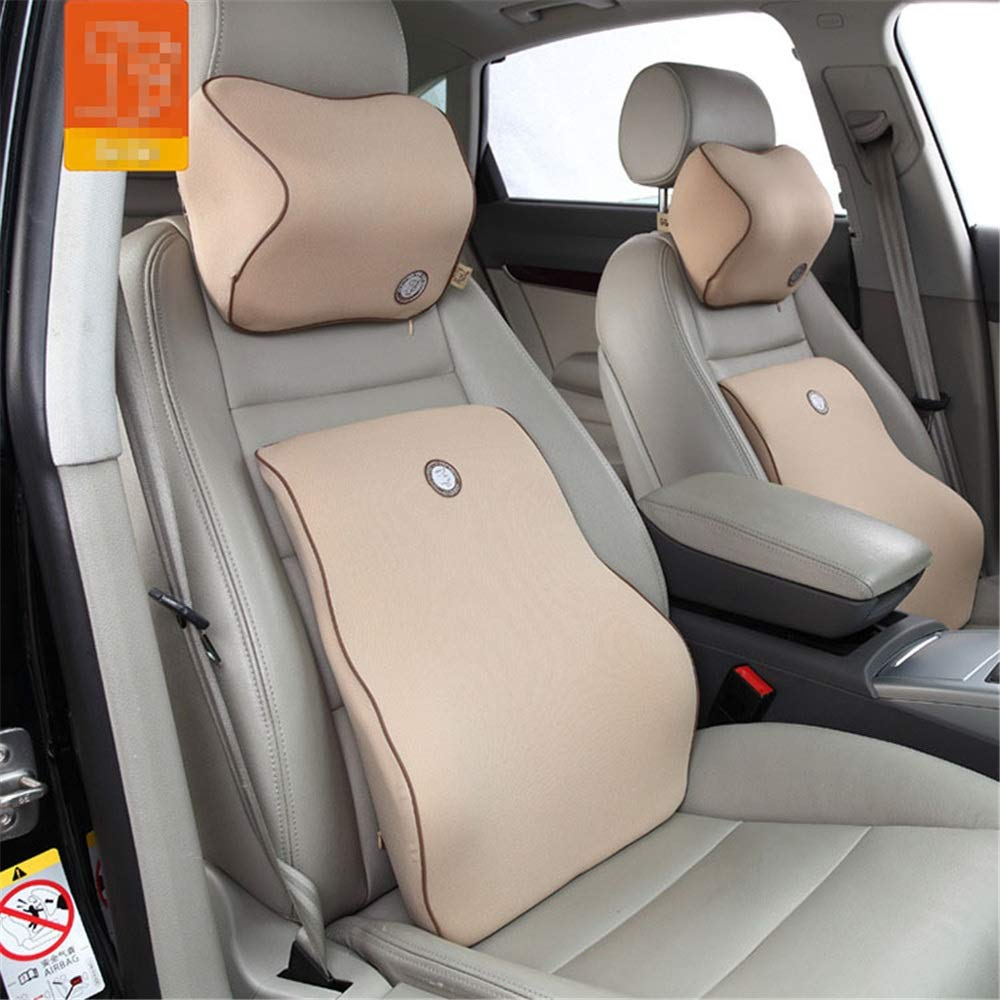 Car Neck Pillow Travel Ease Car Lumbar Support Back Cushion & Headrest Neck Pillow Kit For Seat Cushion Memory Foam Erognomic Design Universal Fit For Car Seat With Back Pain Relief Lumbar Support Pil