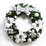 Christmas wreaths door bowknot decoration hotel mall ornaments ( Color : Silver , Size : 40cm )