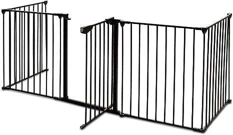 COSTWAY Barrera para Chimenea Seguridad Niño Metal Rejilla para Perros Plegable Puerta Escalera Protección Color Negro: Amazon.es: Bebé