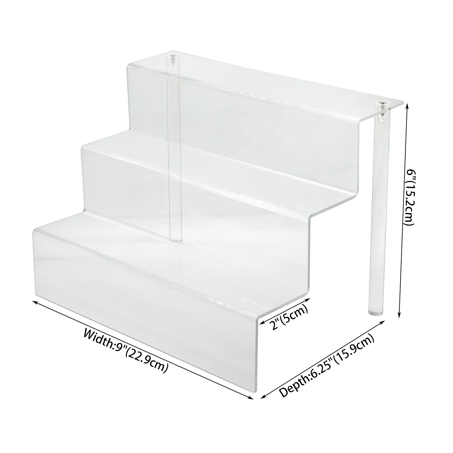 Combination of Life 9-Inch W by 6.25-Inch D 3 Tier Acrylic Display Shelf for Funko Pops Figures Amiibo Nendoroid in Cabinet