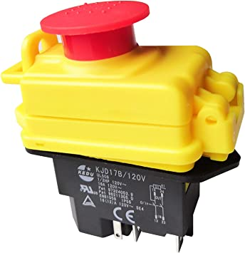 Kjd17b 120v 5pin Waterproof Electromagnetic Pushbutton Switches Kedu Industrial Push Button Switch With Emergency Stop Cover Amazon Com