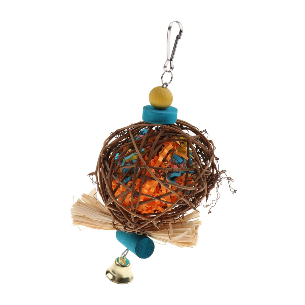 MagiDeal Bird Toys for Parrot Rattan Ball Cage Toy