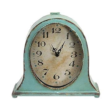 PIGE Reloj De Mesa Retro De Metal Americano Reloj De Mesa Anticuado Europeo Reloj De Mesa De TV De Decoración De Escritorio: Amazon.es: Hogar