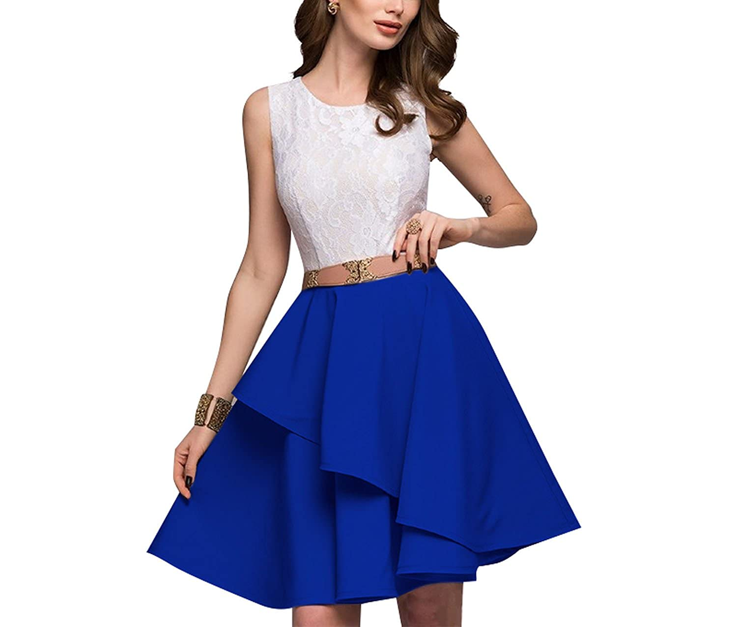 Womens Fashion Beach Sleeveless Flare Dresses Mini A-Line Party Dress Vestidos Plus Size, Picture Color, M at Amazon Womens Clothing store: