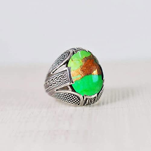 Rose Gold Ring Handmade Ring Turquoise Ring Oval Cab Green Copper Turquoise 925 sterling silver ring 22K Yellow Gold