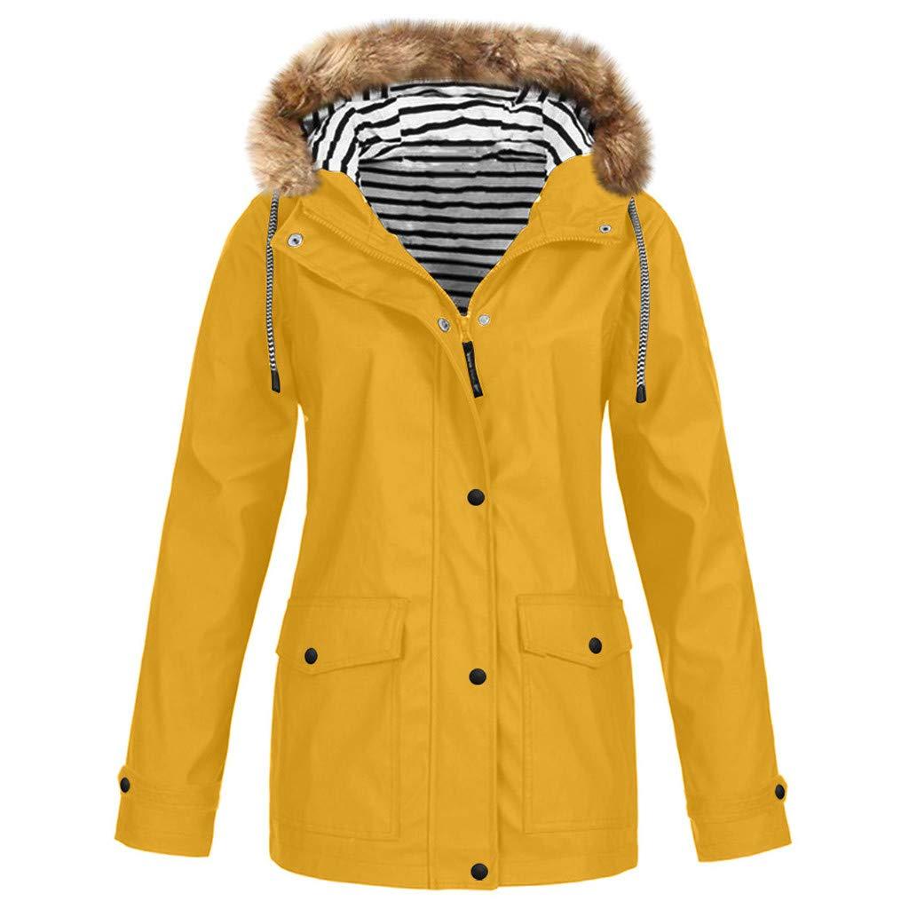 Willow S Women's Waterproof Sunscreen Outdoor Sportswear Plus Velvet Thickening Hooded Button Zipper Jacket Plus Size by Willow S