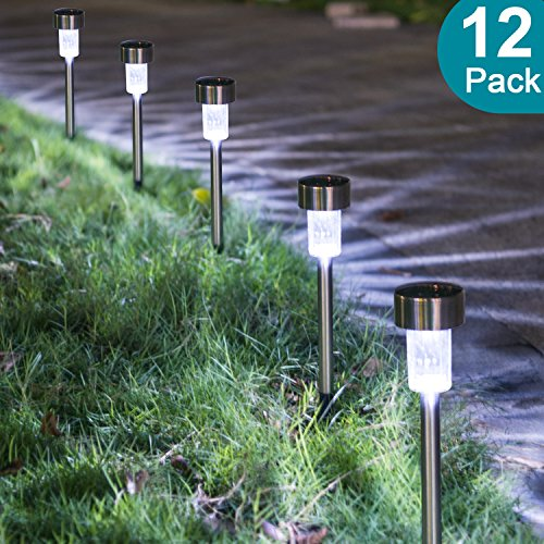 Dumax Solar Garden Lights Outdoor 12 Pack, Solar Powered Pathway Lights, Stainless Steel Landscape Lighting for Patio, Lawn, Yard, Driveway, Walkway