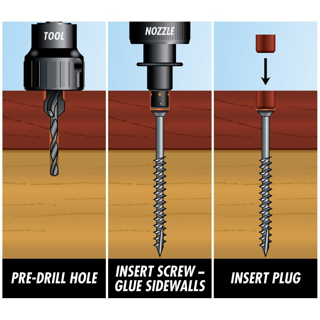 PRO-PLUG SYSTEM Plug and Fasteners - 100 pc Kit Red Balau- plugs 5/16'' diameter