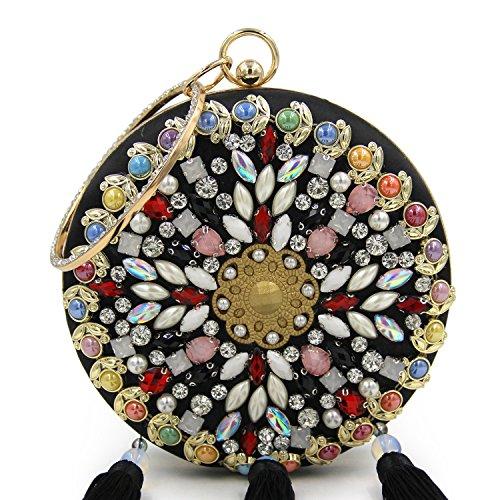 Handbag Decorated Clutch Evening Noir with Purse Wedding Women Tassel Flada Round Flower Blue Beaded XWEqwB