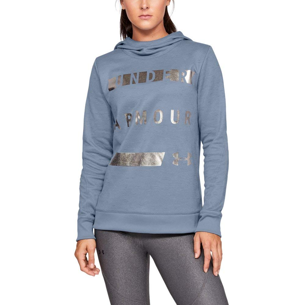 Under Armour Women's Synthetic Word Mark Fleece Pullover, Washed Blue (420)/Metallic Silver, X-Small