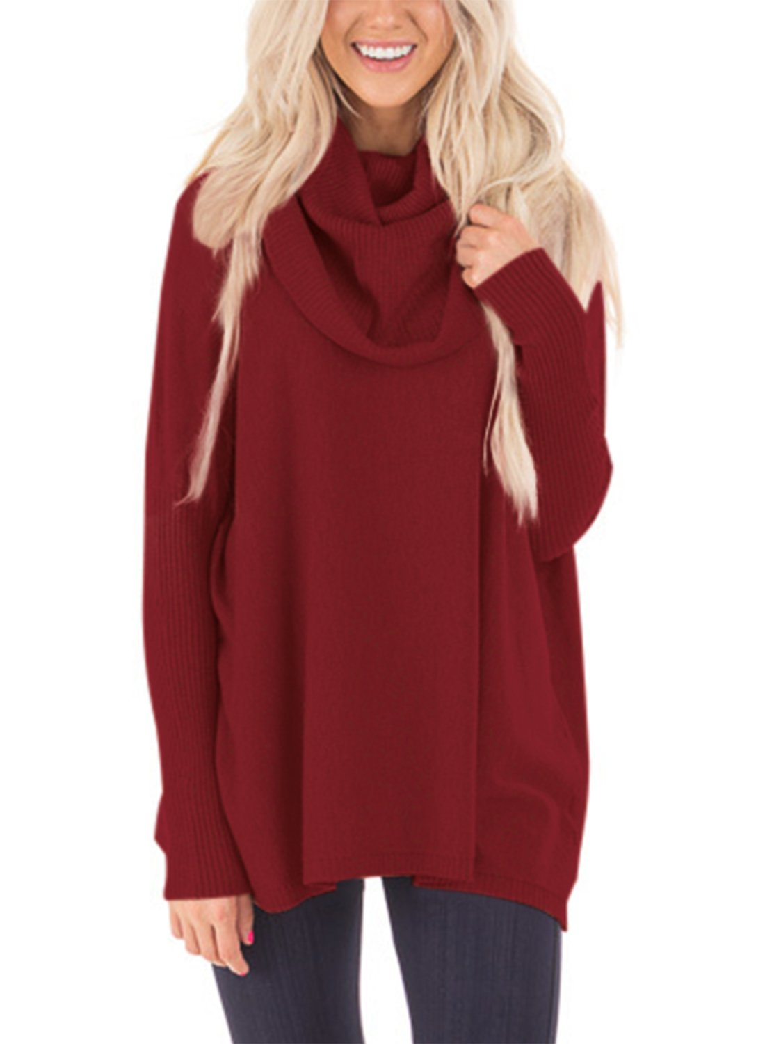 Dokotoo Womens Pullover Regular Elgant Casual Loose Amazon Long Sleeve Cowl Neck Chunky Knit Pullover Sweaters Blouse Tops Wine Large