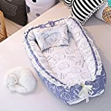 Ukeler Baby Bassinet for Bed- Elephant Design Baby Lounger - Breathable & Hypoallergenic Co-Sleeping Baby Bed Cradles Lounger Cushion - 100% Cotton Portable Crib for Bedroom/Travel