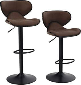ALPHA HOME Bar Stools Counter Height Adjustable Swivel Bar Chair Modern Pu Leather Kitchen Counter Stools Dining Chairs Set of 2,350 lbs Capacity,Brown