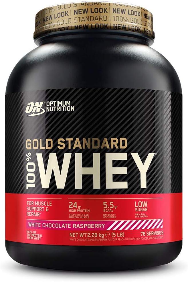 Optimum Nutrition ON Gold Standard 100% Whey Proteína en Polvo Suplementos Deportivos, Glutamina y Aminoacidos, BCAA, Chocolate Blanco y Frambuesa, 76 Porciones, 2.28 kg, Embalaje Puede Variar