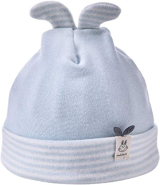 Youliy - Gorro de algodón para recién nacido, diseño de orejas de conejo con pompón, diseño de rayas de algodón, para recién nacidos, para hospital, 0-6 m 0 Meses azul: Amazon.es: Ropa