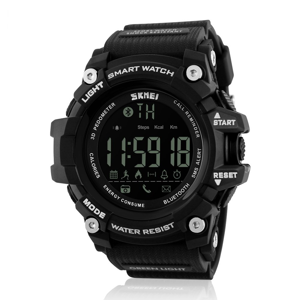 JOYSAE Men's Digital Sport Watches, Bluetooth LED Water Resistant Watch With Dual Time Smartwatch Remote Shooting Alarm Black