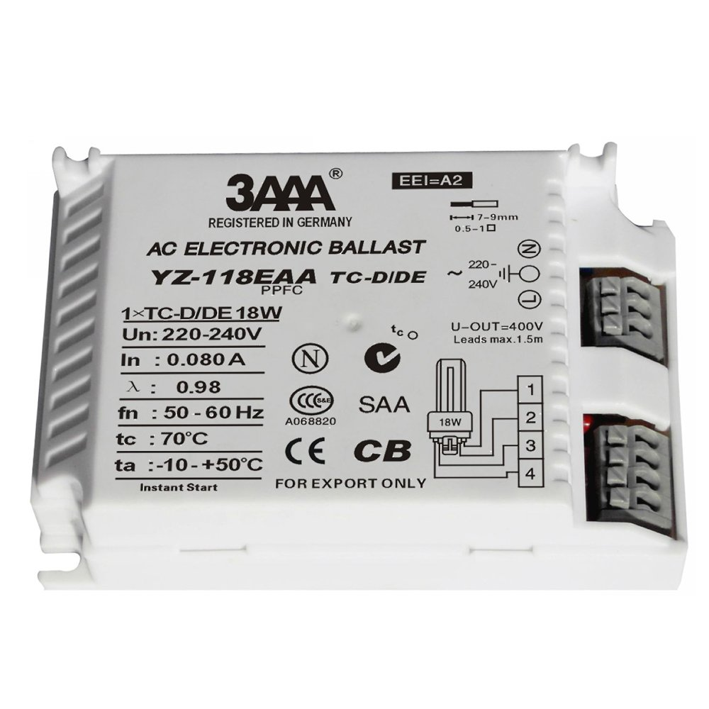 3AAA YZ-118EAA 18W AC Electronic Ballast for TC-D/DE Lamp Shenzhen DERUIFENG Lighting Co. ltd