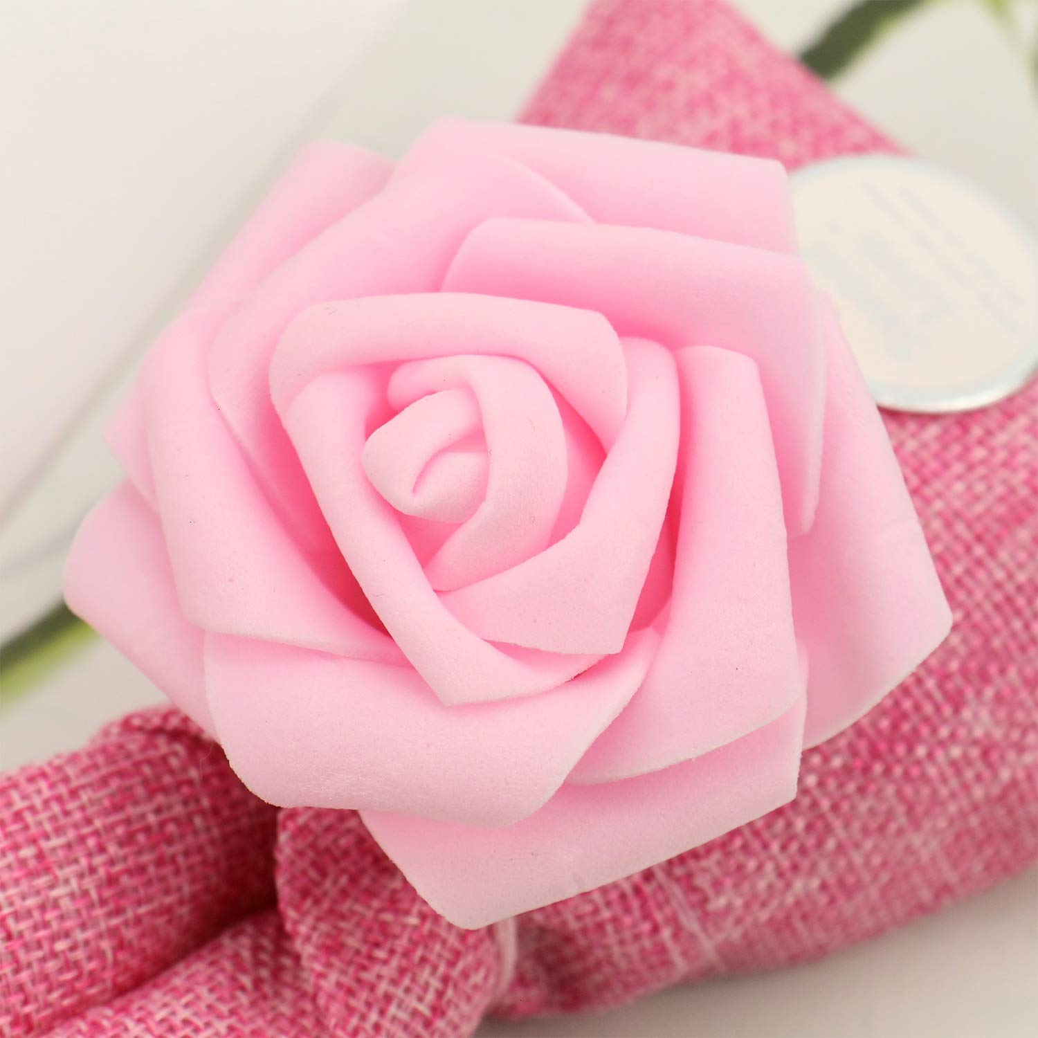 JETEHO 20 Pcs Burlap Candy Bags with Rose Flower Party Favor Gift Bags Drawstring Pouches for Wedding Bridal Shower Valentines Day Baby Shower