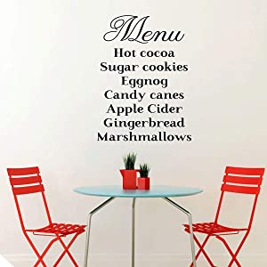 Kitchen Wall Decal - Christmas Themed Vinyl Decor With a Menu List of Christmas Featured Items